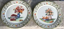 "Vintage Daher Decorated Ware Tin Floral 8"" Wall Plates (2) Holland"