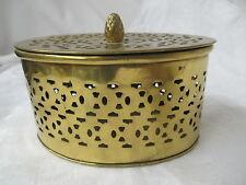 Vintage India Brass filigree Trinket Box pine cone Knob
