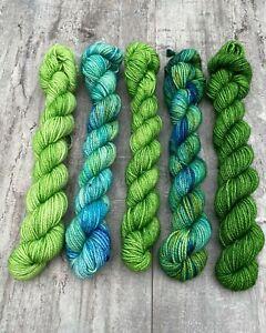 Green Mini Set Wool Yarn Hand Dyed 5x 20g Marino Nylon Socks Mitts Hats Cowl