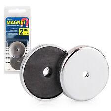 Starker runder Magnet, Rundmagnet 2 kg Haftkraft, mit Chromblende, 2 Stück / Set