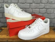 NIKE MENS UK 9 EU 44 WHITE AIR FORCE 1 LOW LEATHER BASKETBALL TRAINERS