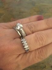 Anniversary Right Hand Band Ring Vintage 18 Kt White Gold Marquise Diamond