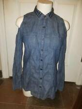 WOMAN'S  DENIM COLLARED COLD SHOULDER BUTTON FRONT TOP SIZE S