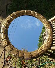 Round vintage gilt-framed mirror; 2047