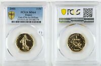 France 2001 1 Franc Gold Or Semeuse Uncirculated PCGS MS64