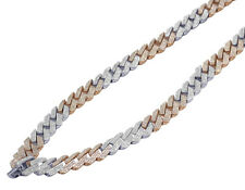 Mens Rose/ White Gold Honeycomb Real Diamond Miami Cuban Necklace 10 MM 12.5 CT