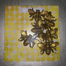 Nip Set of 6 Antique Gold Honey Bee Magnets on Magnetic Square