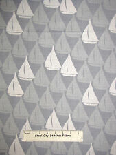 Sailboat Boat Nautical Sail Gray Cotton Fabric RJR #2214 Splash Collection YARD