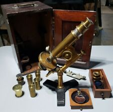 Rare Antique Bausch & Lomb Brass Microscope With Wooden Case Lenses Accessories