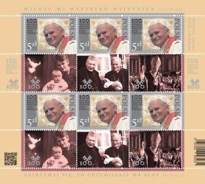 Minifoglio POLONIA 2020 Giovanni Paolo II - Nuovo, emiss. congiunta con Vaticano