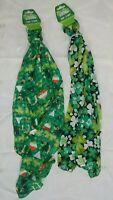St Patricks Day lot of 2 scarves scarf 11 X 60 green white shamrocks-NWT