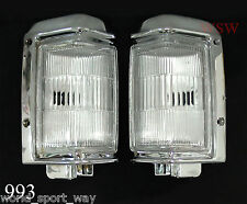 95 - 97 NISSAN NAVARA D21 PICKUP PAIR OF CHROME CORNER LIGHT SIGNAL INDICATOR