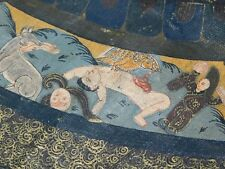 "ANTIQUE VINTAGE THANGKA PAINTING MACABRE 47"" TOTAL."
