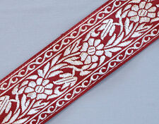 "Floral, Jacquard, Ribbon Trim. Red & Metallic Silver.  3 Yards.  1.5"" Wide"