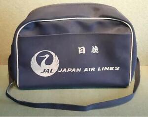 Vintage JAL Japan Air lines Advertising Flight Bag in Blue Canvas