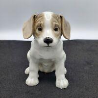 "Vintage Porcelain Labrador White Gray Dog Puppy Figurine Japan 5"""