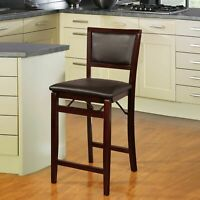 24 in. Foldable Counter Height Stool Padded Seat Kitchen Dining Chair Dark Brown