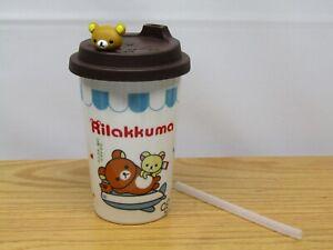 RILAKKUMA CERAMIC TRAVEL MUG ~ France ~ Teddy Bear w/ Silicone Lid & Straw