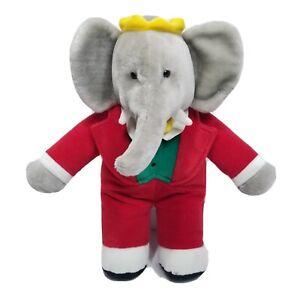 """Vintage Gund Babar Elephant King Plush Crown Red Suit 1988 Stuffed Animal 14"""""""