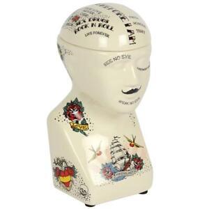 Phrenology Skull Shaped Vintage Tattoo Cannister Storage Jar 18cm