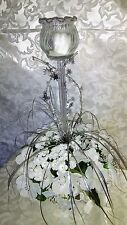 TABLE CENTERPIECE FOR  WEDDINGS-WHITE/IVORY FLOWERS - GLASS CANDLE HOLDER- SILVE