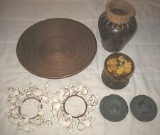 (2)Seashell Candle Rings, Glass Container With Shells, Wood Bowl, Vase &Coasters