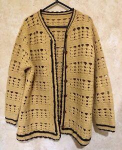Original Retro Vintage Hand Made Crochet Ladies Cardigan Coat Jacket