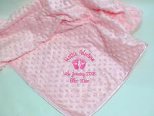 Personalised Luxury Bubble Baby Girl Pink Blanket, Embroidered Birth Details