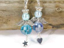 8 DIY Schutzengel Anhänger blau türkis Herz Stern Perlenengel Schlüsselanhänger