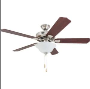 "Seasons® 44"" Dual-Mount Ceiling Fan Brushed Nickel Bowl Light Kit"