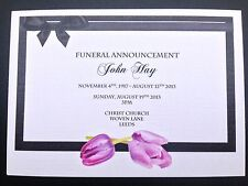25 x Personalised Funeral Announcement / Invitation cards A6 FREE P&P