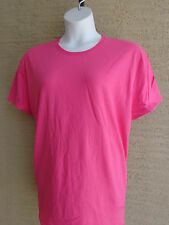 NEW New Hanes 3X Cotton Jersey S/S Crew Neck Tee Shirt Wow Pink