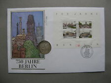 GERMANY BRD, coincover FDC 1987, S/S 750 years Berlin, coin 10 DM 1987 J