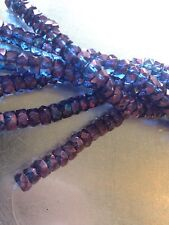 50 6/3mm Luster Transparent Amethyst Faceted Fire Polished Rondelle Beads Glass