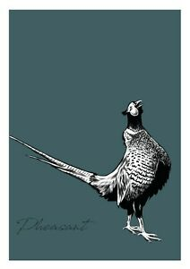 A4 Size Pheasant in Blue & Monochrome Rustic Stylish Poster Print Unframed