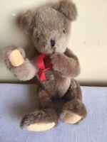 "Vintage 1986 Brown Jointed Head Arm Legs Teddy Bear Bean Bag Plush Toy 10"" Tall"