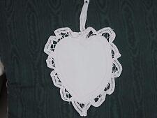 "3 PC 6"" White Battenburg Lace heart country christmas ornament sachet W/ Hanger"