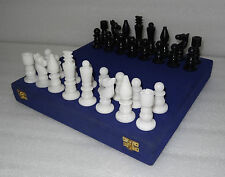 "4"" Italian Marble White & Black Chess pieces Handmade Art Gifts"