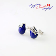 S925 Sterling Silver Lapis Lazuli Pear Shaped Gemstone Marcasite Earring Stud