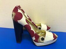 Dolce Gabbana Women fabric & Leather upper wood Floral Heel shoes size EU 40