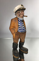 Trygg / Huron Native American Style Wood Carving Sailor Captain Old Man Wooden
