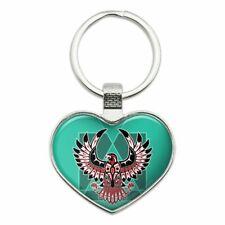 Love Metal Keychain Key Chain Ring Black Hawk Native American Design Style Heart
