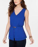 Thalia Sodi Women's Sleeveless V-Neck Peplum Top Size Medium