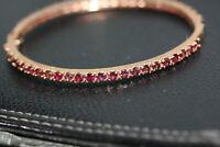 "New Women's Rose Sterling Silver 1.32 ctw Ruby Garnet Bangle Tennis Bracelet 8"""