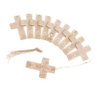 10pcs Wooden Cross Gift Label Tags with Jute Twine Church Christening Favor
