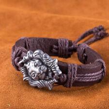 Vintage Genuine Cow LEATHER Bangle BRACELET Metal Lion Head Wristband BL333