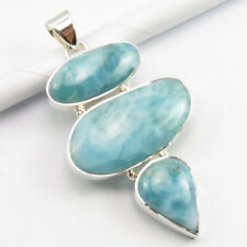 925 Solid Sterling Silver Authentic LARIMAR Bridemaid's Gift Pendant 2.2 Inches
