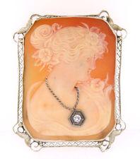 Vintage 14k echt Weißgold offen Arbeit geschnitzter Gemme Diamant Anhänger