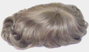 "MENS MONOFILAMENT HAND TIED MALE WAVY STRAIGHT WIG TOUPEE HAIRPIECE 5"" X 7"""