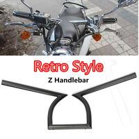 """7/8"""" 22mm Motorcycle Drag Handlebar Z Bar Black For Chopper Davidson Bobber Dyna"""